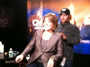 Behind the scenes: Laughing with the producers at the CNN studio before air time.
